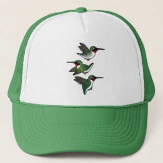 Flying Ruby-throated Hummingbird Trucker Hat