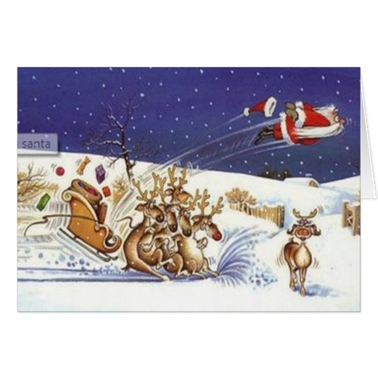 Flying Santa Beautiful Reindeer Funny Christmas Card