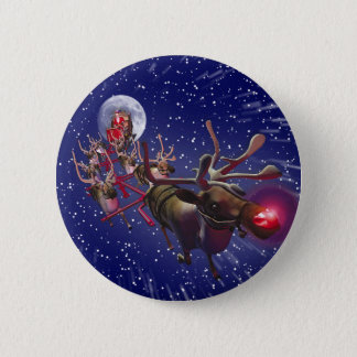 Flying Santa Claus Red Nosed Reindeer 6 Cm Round Badge