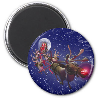 Flying Santa Claus Red Nosed Reindeer Magnet