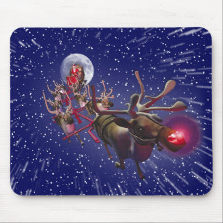 Flying Santa Claus Red Nosed Reindeer Mouse Mat