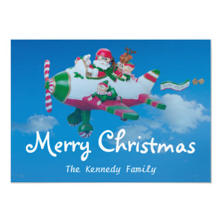 Flying Santa Claus with Elves in Airplane 13 Cm X 18 Cm Invitation Card