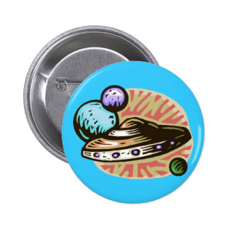 Flying Saucer 6 Cm Round Badge