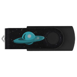 FLYING SAUCER BLUE by Jetpackcorps USB Flash Drive