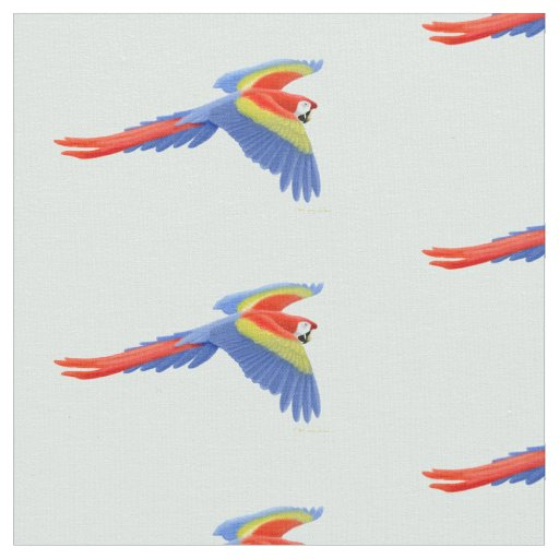 Flying Scarlet Macaw Parrot Fabric