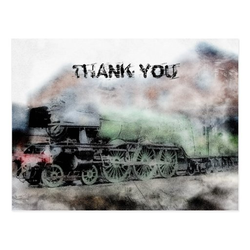 Flying Scotsman Vintage Steam Engine Thank You Post Cards