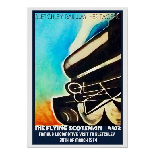 Flying Scotsman visit to Bletchley poster print