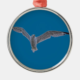 Flying Sea Gull & Clouds Silver-Colored Round Decoration