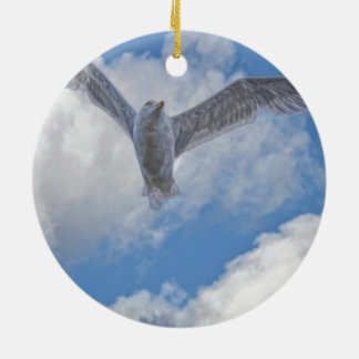 Flying Sea Gull & Clouds Double-Sided Ceramic Round Christmas Ornament
