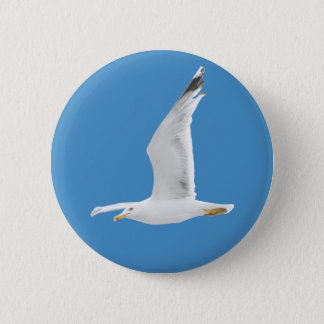 Flying seagull 6 cm round badge
