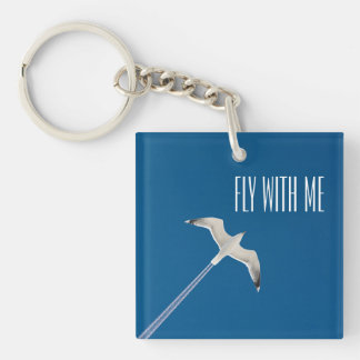 Flying seagull and the contrail key ring