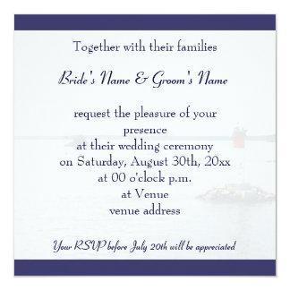 flying seagull wedding invitation