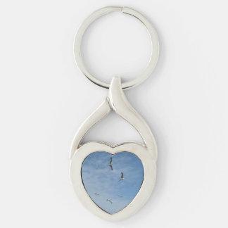 Flying Seagulls Heart Keychain