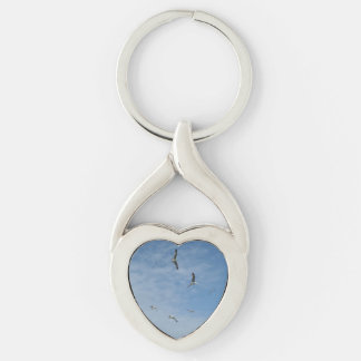 Flying Seagulls Heart Keychain Silver-Colored Twisted Heart Key Ring