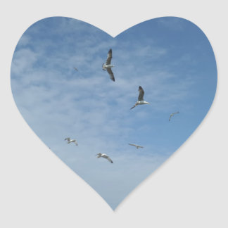 Flying Seagulls Heart Sticker