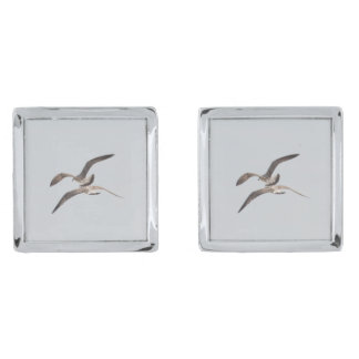 Flying seagulls silver finish cuff links