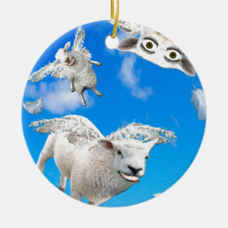 FLYING SHEEP 3 ROUND CERAMIC DECORATION