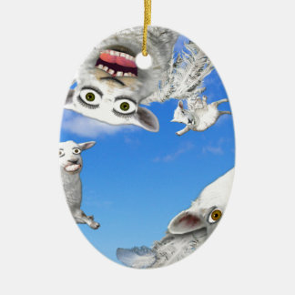 FLYING SHEEP 4 CERAMIC OVAL DECORATION