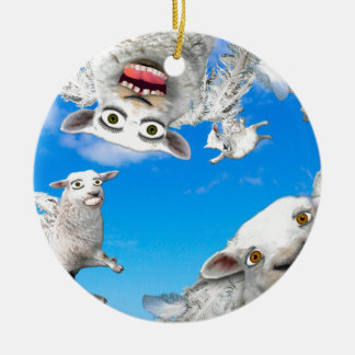 FLYING SHEEP 4 ROUND CERAMIC DECORATION
