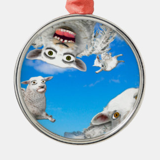 FLYING SHEEP 4 Silver-Colored ROUND DECORATION