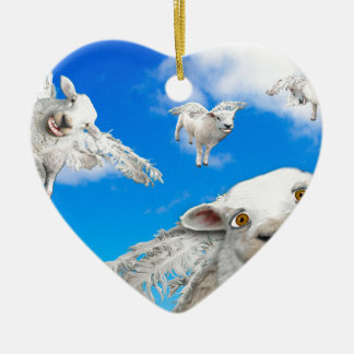FLYING SHEEP 5 CERAMIC HEART DECORATION