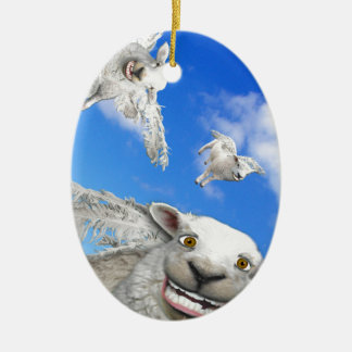 FLYING SHEEP 5 CERAMIC OVAL DECORATION