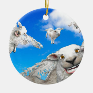 FLYING SHEEP 5 ROUND CERAMIC DECORATION