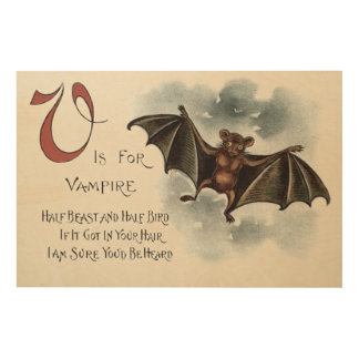 Flying Silly Goofy Vampire Bat Wood Canvas