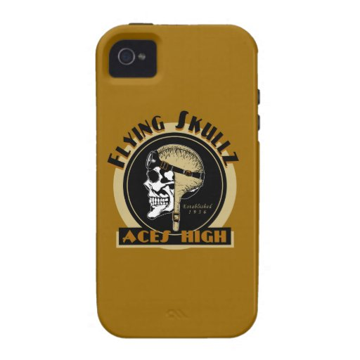 Flying Skullz Aces High Airborne Paratrooper Skull Case-Mate iPhone 4 Cases