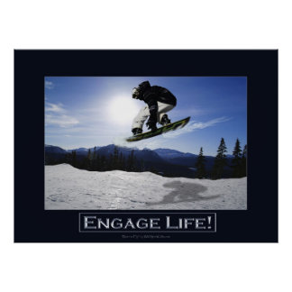 FLYING SNOWBOARDER Motivational Photo Print
