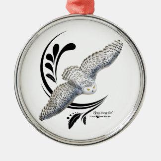 Flying Snowy Owl Christmas Ornament