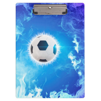 Flying soccer surrounded by white, blue fire clipboard