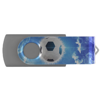 Flying soccer surrounded by white, blue fire swivel USB 2.0 flash drive
