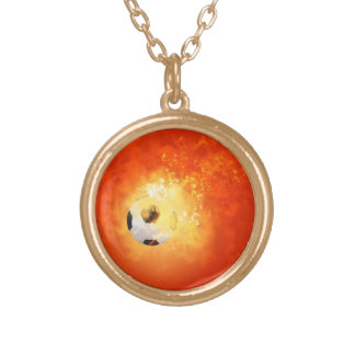Flying soccer with flames round pendant necklace