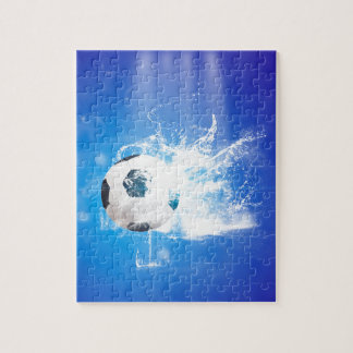 Flying soccer with water splashes jigsaw puzzle