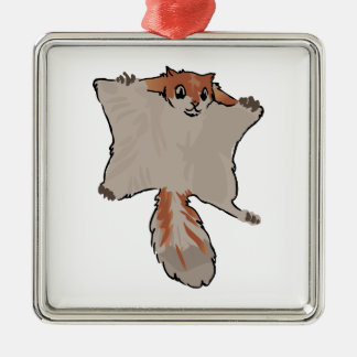Flying Squirrel Silver-Colored Square Decoration