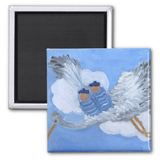 Flying Stork and Twin Baby Boys Magnet