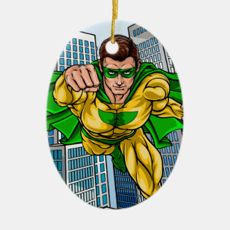 Flying Super Hero City Ceramic Oval Decoration