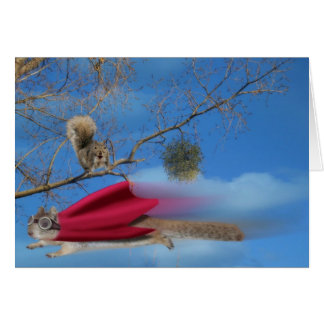 Flying Super Squirrel Greeting Card