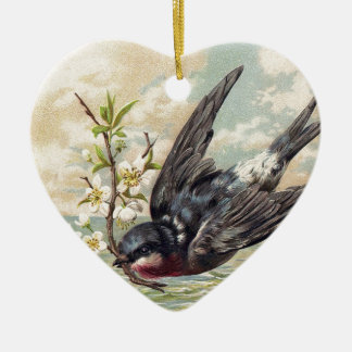 Flying swallow with more flower twig christmas ornament