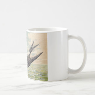 Flying swallow with more flower twig coffee mugs