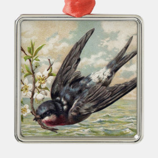 Flying swallow with more flower twig Silver-Colored square decoration