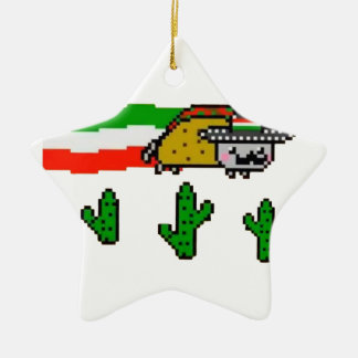 Flying Taco Cat Christmas Ornament