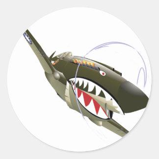 FLYING TIGER ROUND STICKER