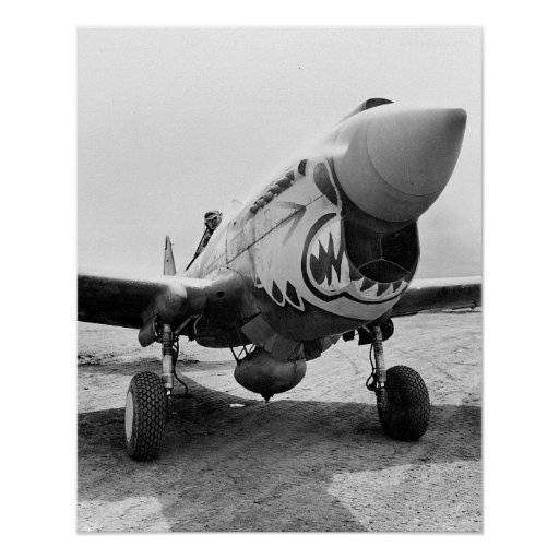 Flying Tigers P-40 Warhawk, 1941. Vintage Photo Poster