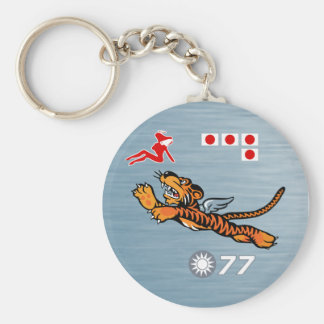 Flying Tigers WWII Nose Art Basic Round Button Key Ring
