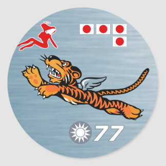 Flying Tigers WWII Nose Art Classic Round Sticker
