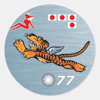 Flying Tigers WWII Nose Art Round Sticker