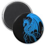 Flying Tribal Dragon - blue on black 6 Cm Round Magnet