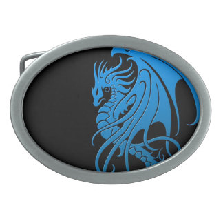 Flying Tribal Dragon - blue on black Belt Buckle